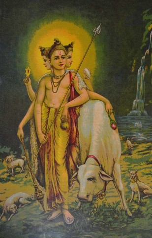 Shri Datt by Raja Ravi Varma, Illustration Printmaking, Lithography on Paper, Green color