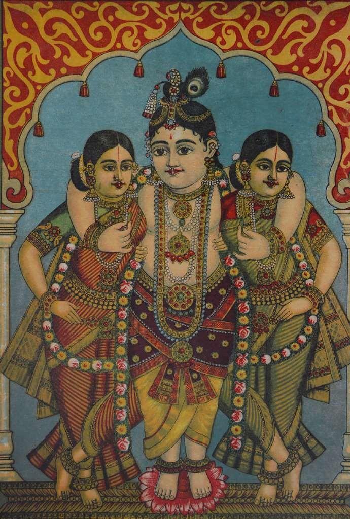 Shri Krishna Gopi By Artist Raja Ravi Varma Illustration