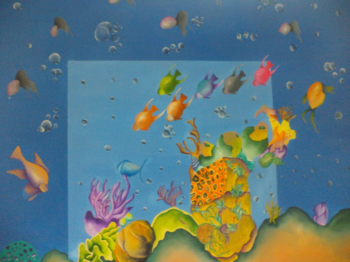 underwater 2 by gunjan dhillon, Impressionism Painting, Mixed Media on Canvas, Blue color