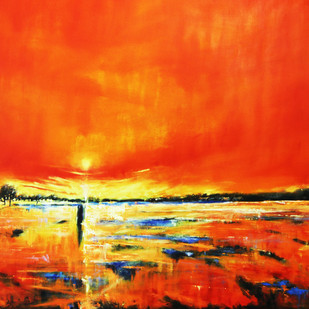 Kharif season by Nidhi Rajput Bhatia, Impressionism Painting, Oil on Linen, Orange color