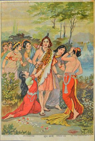Shrung Rushi by Raja Ravi Varma, Illustration Printmaking, Lithography on Paper, Beige color