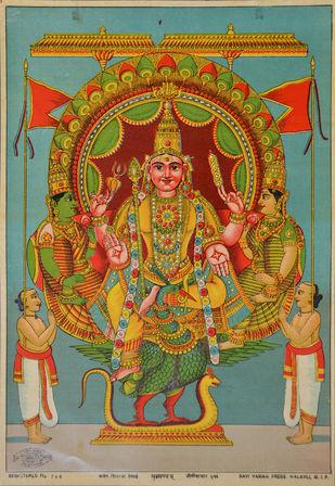 Subramaniam by Raja Ravi Varma, Illustration Printmaking, Lithography on Paper, Brown color
