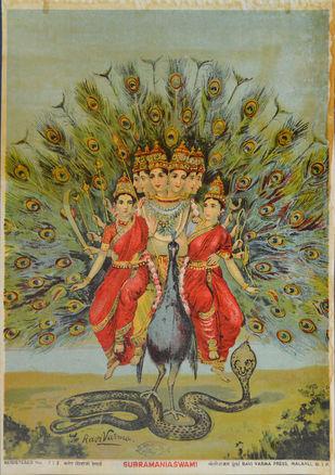 Subramaniaswami by Raja Ravi Varma, Illustration Printmaking, Lithography on Paper, Beige color