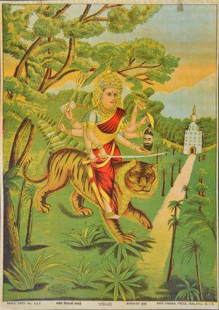 Vageshwari by Raja Ravi Varma, Illustration Printmaking, Lithography on Paper, Green color