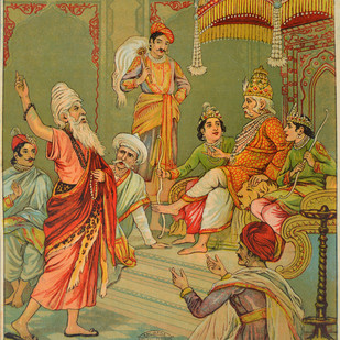 Vishwamitra by Raja Ravi Varma, Illustration Printmaking, Lithography on Paper, Brown color