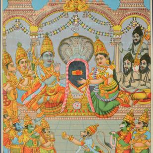 Shri Setubandh Rameshwar by Raja Ravi Varma, Illustration Printmaking, Lithography on Paper, Beige color