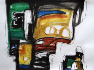 Untitled by Krishna Pulkundwar, Impressionism Painting, Dry Pastel on Paper, Gray color