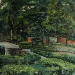 Seen Through by Deepanshu Joshi, Impressionism Painting, Oil on Canvas, Green color