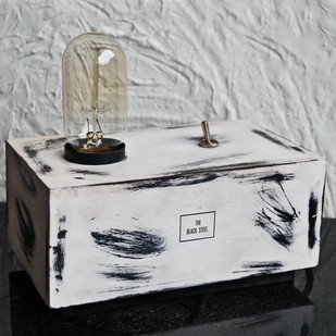 Iceberg White Box Desk Industrial Lamp by The Black Steel, Contemporary Table Lamp, Wood, Gray color