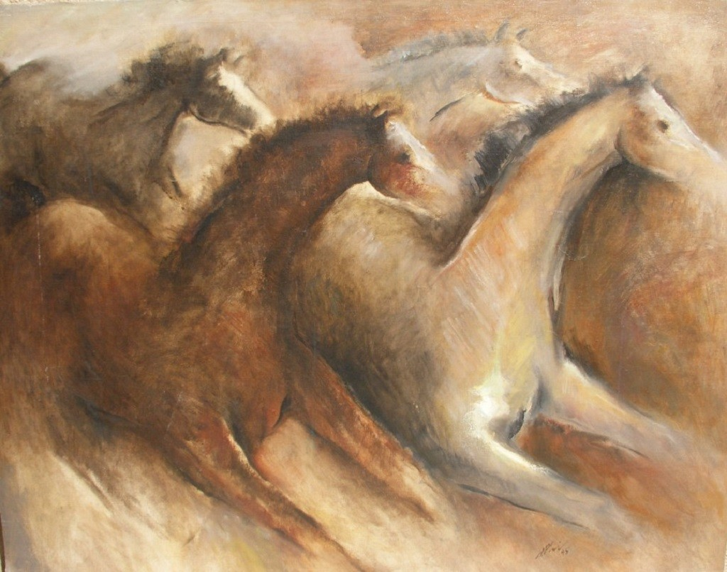 Horses by Peter Lewis, Impressionism Painting, Oil on Canvas Board, Brown color