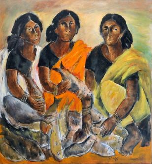Fisher Women by Peter Lewis, Expressionism Painting, Oil on Canvas, Brown color