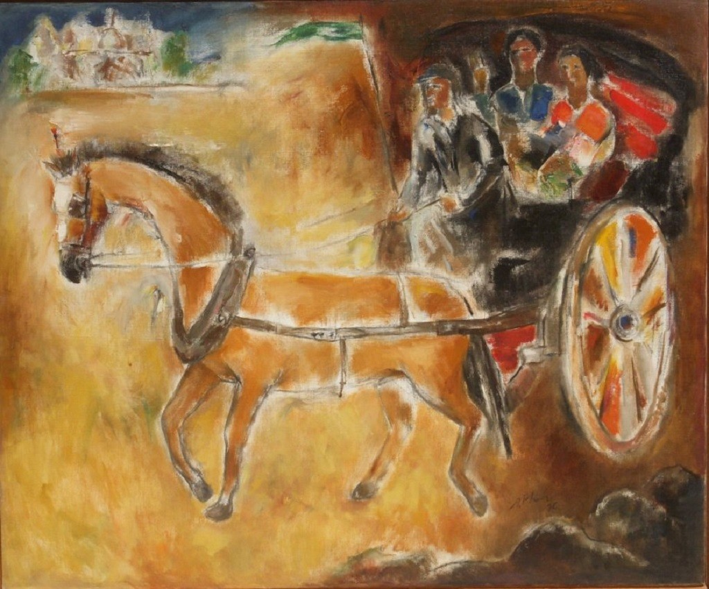 Tonga by Peter Lewis, Impressionism Painting, Oil on Canvas, Brown color