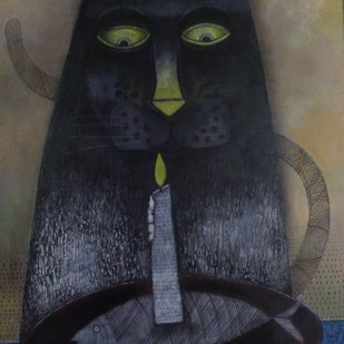 Birthday by Jayavanth Shettigar, Conceptual Painting, Acrylic on Board, Gray color