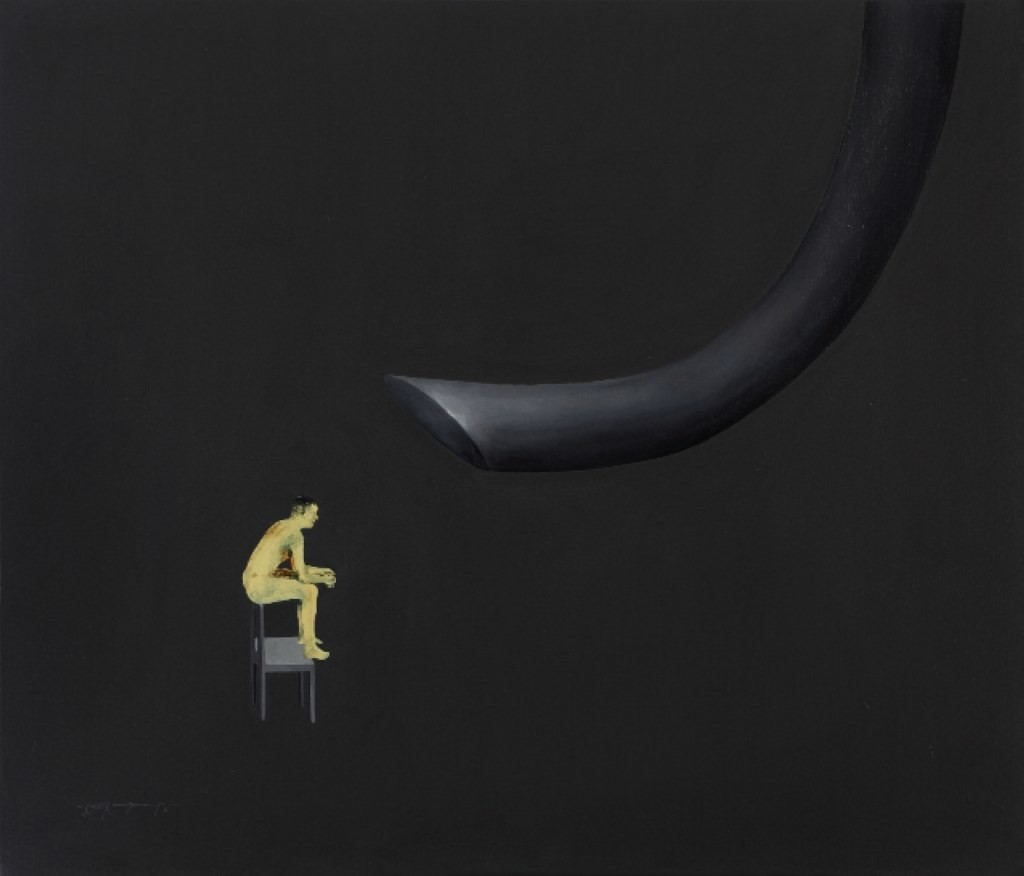 Untitled 2 (man standing) by Jyoti Ranjan Jena, Conceptual Painting, Acrylic on Canvas, Gray color