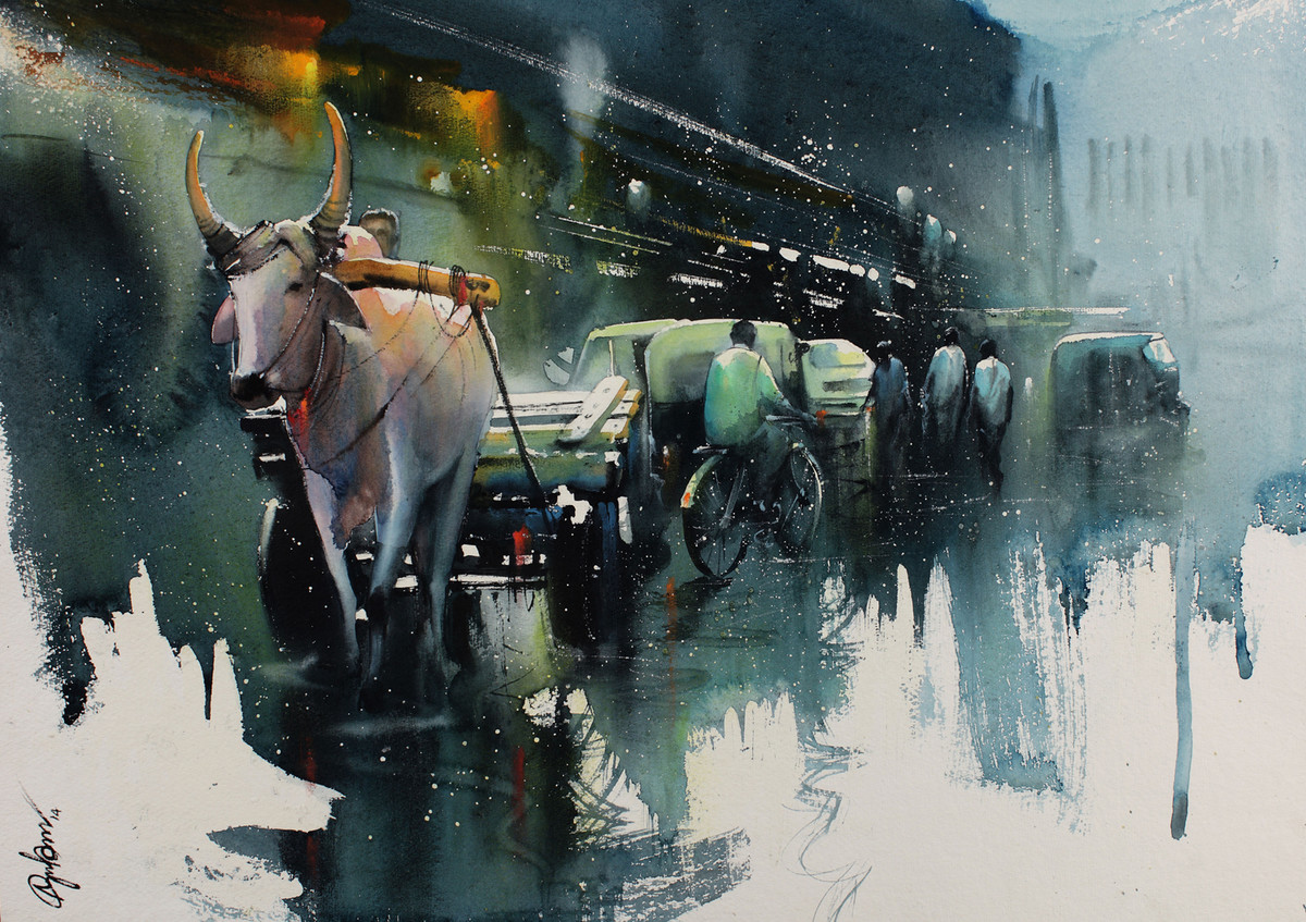 RAINY STREET_66 by nadees prabou, Impressionism Painting, Watercolor on Paper, Green color