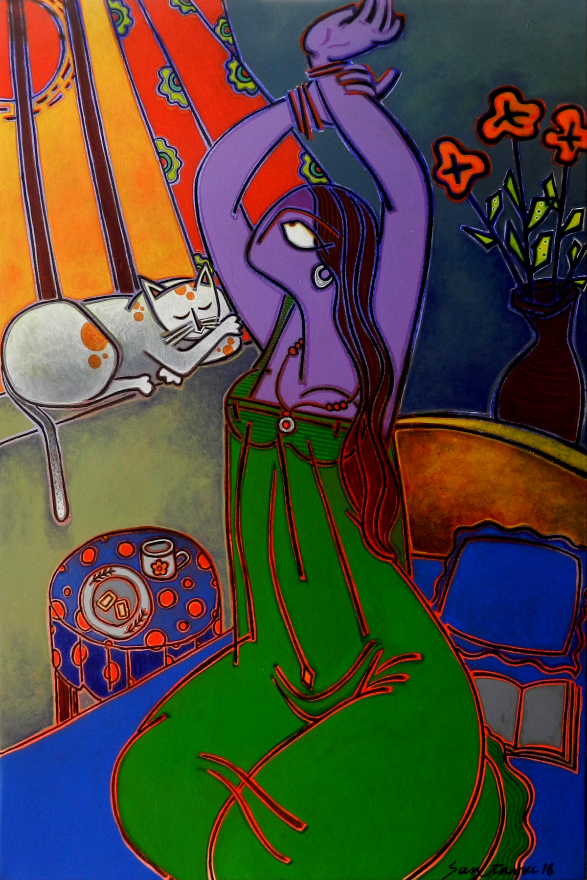 Morning Tea Digital Print by Santanu Nandan Dinda,Expressionism