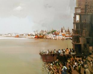 Ganga Ghat by Muniruzzaman, Impressionism Painting, Acrylic on Canvas, Beige color