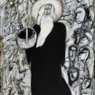 Poet of the earth by Dhiraj Choudhury, Expressionism Painting, Acrylic on Canvas, Gray color
