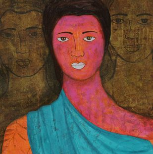 Summer by Priyanka Waghela, Expressionism Painting, Acrylic on Canvas, Brown color