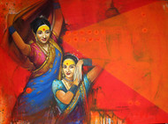 Waghya-Muruli-1 by Sudhir Bangar, Expressionism Painting, Acrylic on Canvas, Red color