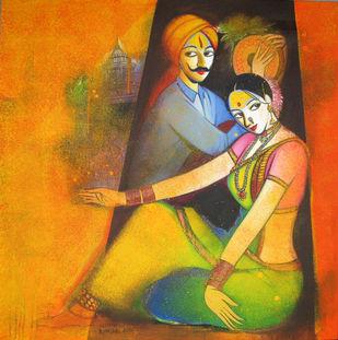 Waghya-Muruli-4 by Sudhir Bangar, Decorative Painting, Acrylic on Canvas, Orange color