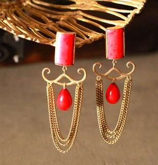 RED STONE EARRING N08 by Narayan Art, Art Jewellery Earring