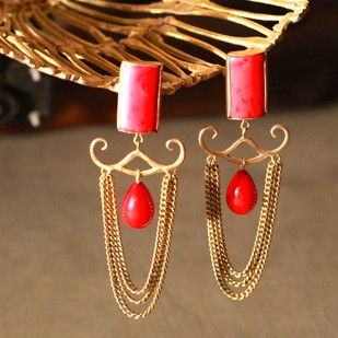 RED STONE EARRING N08 by Narayan Art, Art Jewellery Earring