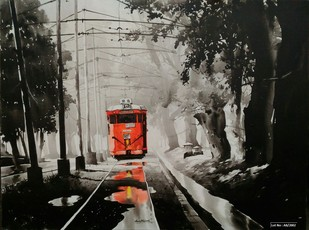 Kolkata City Scape-AB7 by Arpan bhowmik, Impressionism Painting, Acrylic on Canvas, Gray color