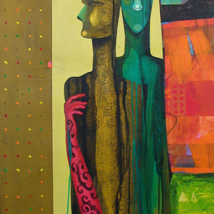 Untitled 2 by Samar Singh Thakur, Expressionism Painting, Acrylic on Canvas, Brown color