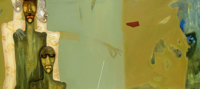 Untitled 4 by Samar Singh Thakur, Expressionism Painting, Acrylic on Canvas, Beige color