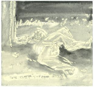 I think of You by Anil Simhadri, Expressionism Drawing, Ink on Paper, Beige color