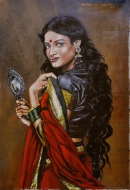 Lady with a mirror by Sreenivasa Ram Makineedi, Realism Painting, Oil on Canvas, Brown color