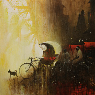 rickshaw man_06 by nadees prabou, Impressionism Painting, Acrylic on Canvas, Brown color