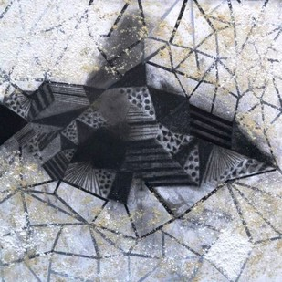 TRACKS by Shivani Garg , Geometrical Painting, Charcoal on Canvas, Gray color
