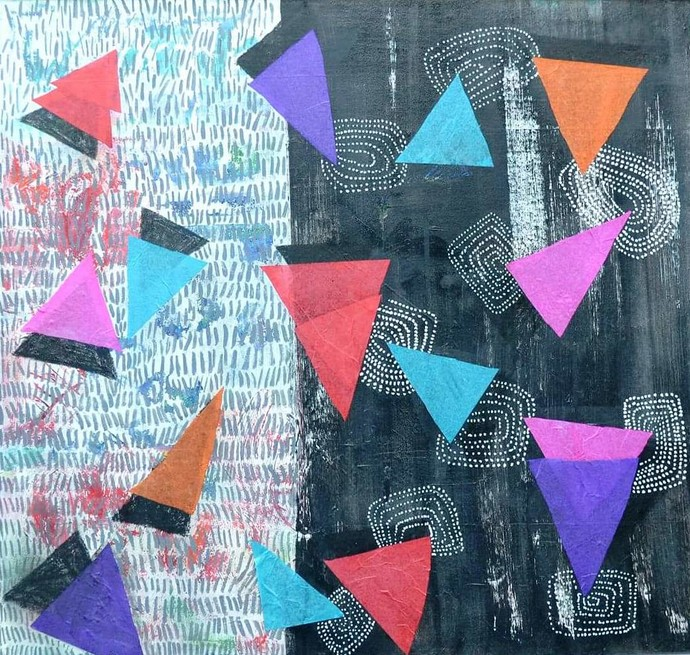COLOURS OF LIFE by Shivani Garg , Conceptual, Geometrical Painting, Acrylic on Canvas, Cyan color