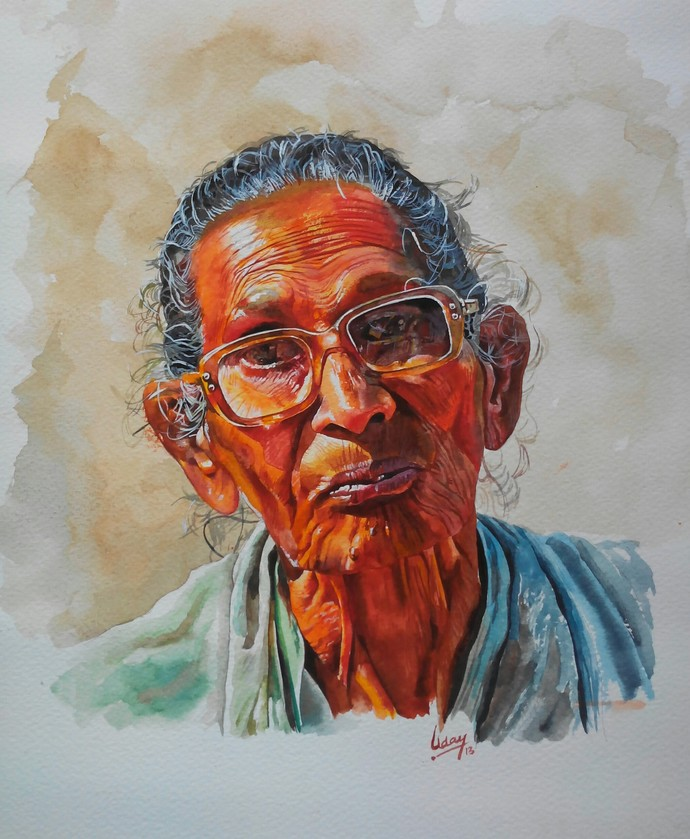 Old lady by Uday Bhan, Realism Painting, Watercolor on Paper, Gray color