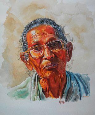 Old lady Digital Print by Uday Bhan,Realism