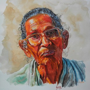 Old lady Digital Print by Uday Bhan,Realism