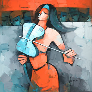 Essence of Violin by Deepa Vedpathak, Expressionism Painting, Acrylic on Canvas, Cyan color