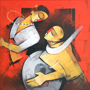 Melodious by Deepa Vedpathak, Expressionism Painting, Acrylic on Canvas, Brown color