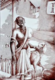 Lady with Lamb 2 by Bairu Raghuram, Expressionism Painting, Pen on Paper, Gray color