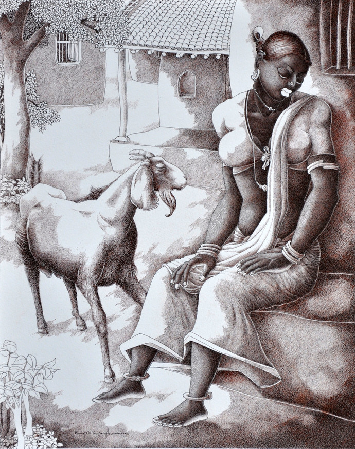 Lady with Lamb 1 by Bairu Raghuram, Expressionism Painting, Pen on Paper, Gray color