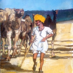 Pushkar01 by Sreenivasa Ram Makineedi, Impressionism Painting, Oil on Canvas, Beige color