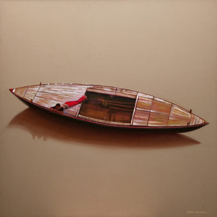 Alone by VINAYAK TAKALKAR, Photorealism Painting, Oil on Canvas, Brown color