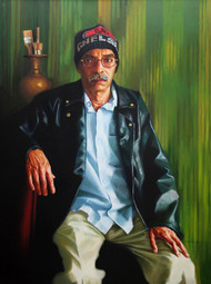ARTIST by VINAYAK TAKALKAR, Photorealism Painting, Oil on Canvas, Green color