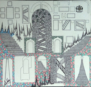 Reconstruction by Adarsh Sinha, Conceptual, Geometrical Drawing, Pen & Ink on Paper, Gray color