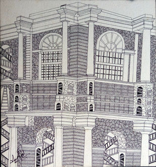 Reconstruction by Adarsh Sinha, Conceptual Drawing, Pen & Ink on Paper, Gray color