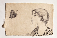 Tryst with Nature Series by Sabia Khan, Realism Drawing, Pen & Ink on Paper, Beige color