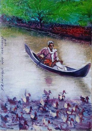 Kerala Boatman by Sreenivasa Ram Makineedi, Impressionism Painting, Oil on Canvas, Blue color