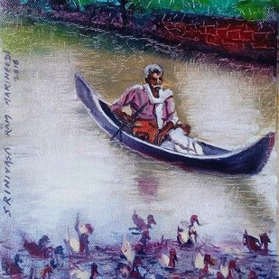 Kerala Boatman by Sreenivasa Ram Makineedi, Impressionism Painting, Oil on Canvas, Blue color